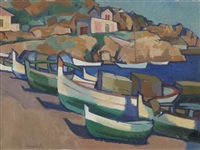 fishing boats, spain by denis frederic neal peploe