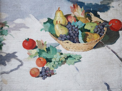 still life with basket of fruit by adolphe valette