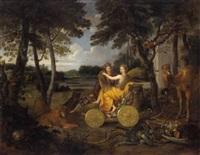 allegorie - ceres als personfikation des sommers mit einer stadtgöttin by johannes gottlieb glauber
