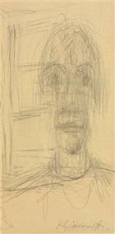 tête et sculpture (recto); etude (verso ) by alberto giacometti