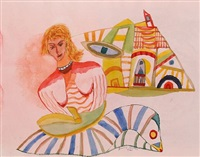 woman seated on a striped rug (+ another (sketch); verso) by henry miller