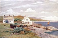 coastal study of the isle of man with fishing vessels in harbour by robert dobson