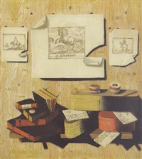 a trompe l'oeil still life of prints and shelves of books and letters on a pine wall by andrea domenico remps