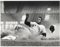 willie mays, new york giants, triples in ebbets field by robert riger