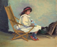 young girl and her doll by harriette bowdoin