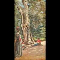 giardino parigino con figure femminile by raffaele ragione