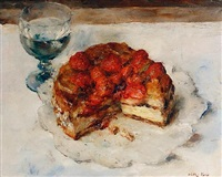 still life of gateaux and a glass of water (study) by walter vaes