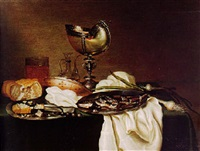 a breakfast still life of a fish on a pewter dish and other objects by maerten boelema de stomme
