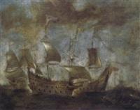 seegefecht zwischen spanischen oder englischen kriegsschiffen und einem piratenschiff by aert anthonisz
