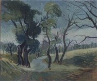 landstraße mit bäumen by hans grundig