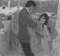 conversing couple at railing by joseph de mers
