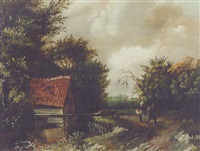 a peasant couple by a river by gillis rombouts