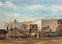 figure in front of a house by achilleas aivazoglou