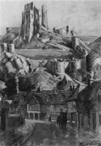 corfe castle dawn by francis henry newbery