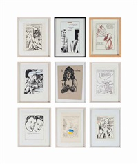 (i)untitled (summon thomas…) (+ 9 others; 10 works) by raymond pettibon