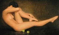 nude balancing with two apples by stuart morle