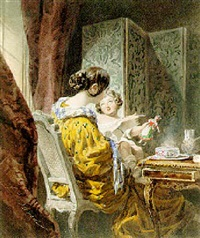 a mother and child at the breakfast table by jean louis david