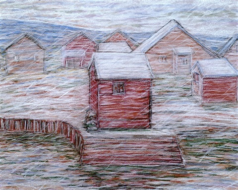 snow falling rockport harbor by charles salis kaelin