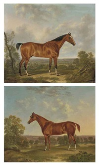 a chestnut hunter in a wooded landscape (+ a bay hunter in a wooded landscape; pair) by charles towne