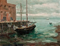 sailboat in harbour by paul barnard earle