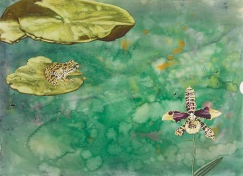 i was working on water color splatter paintings and one had a highly rendered frog on a lilly pad and a head on an orchid it had a cut circular edge in 15 minutes i had to speak at a lecture hall with no idea what to say by jim shaw
