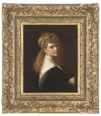 portrait of a young lady with a blue ribbon in her hair by george augustus freezor