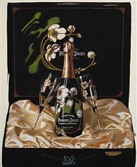 still life with champagne bottle by steve kaufman