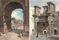 the colosseum seen through the arch of titus (+ a bread shop in the roman forum; pair) by george edwin ewing
