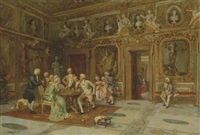 a game of chess in the bernini room, villa borghese, roma by enrique cabral y llano