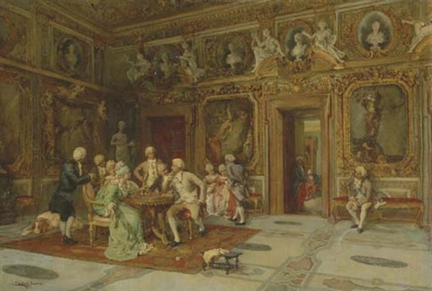 a game of chess in the bernini room villa borghese roma by enrique cabral y llano