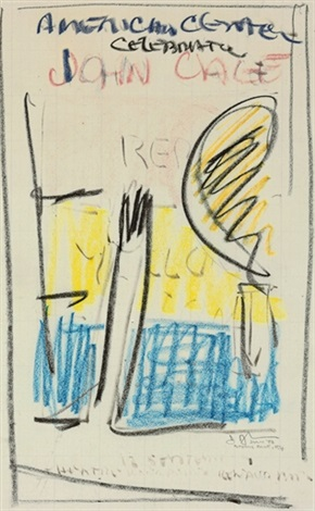 american center celebrationjohn cage poster sketch by jasper johns