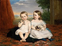 retrato de dos niños con sus mascotas (children with their pets) by carlos luis de ribera y fieve
