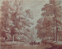 fishermen in a boat on the slokhorster beek, near utrecht by jan apeldoorn