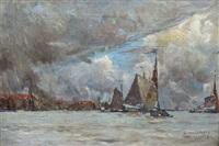 vue de port sous un ciel gris by albert baertsoen