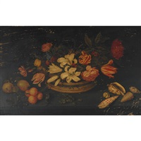 still life of lillies, tulips, peonies and other flowers by johannes bosschaert