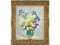 vase de fleurs et iris bleu by marie-lucie nessi-valtat