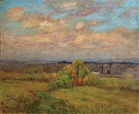 expansive summer landscape with building (+ dusk landscape, incomplete, verso) by theodore clement steele