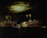 "the 1870 steamboat race between the ""robert e. lee"" and the ""natchez"" by american school-southern (19)"