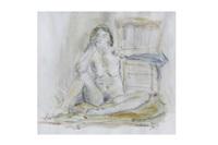 nu féminin assis by léopold kretz