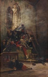 scène de combat dans une église by alphonse marie de neuville