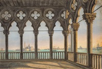 view from the palazzo ducale in venice by benno friedrich tormer