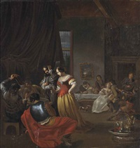 an interior with elegant figures playing backgammon and others merrymaking by jacob ochtervelt
