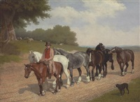 a groom with a string of carthorses and a dog, on a country road by jacques-laurent agasse