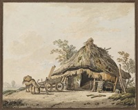 men working by a shed; donkey and cart by a shed (2 works) by jurriaan andriessen