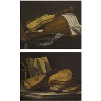 a still life of a violin, a lute and a recorder on a table (+ a still life of a violin and a lute on a table with books; pair) by cristoforo munari