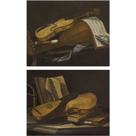 a still life of a violin a lute and a recorder on a table a still life of a violin and a lute on a table with books pair by cristoforo munari