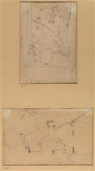 strada di paese con figure; casolare (2 works) by telemaco signorini