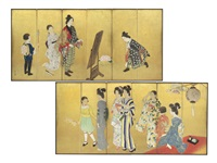 a pair of sanjya festival six-fold screens by hogetsu yokoo