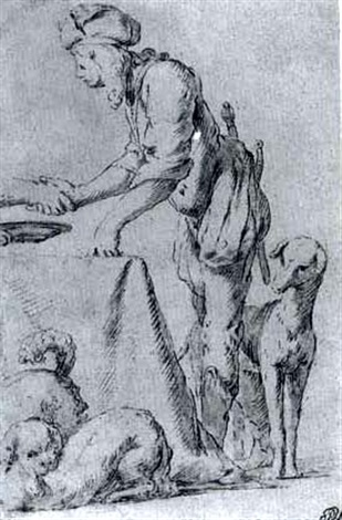 Man standing near a table and three dogs by giovanni for Giovanni spinelli