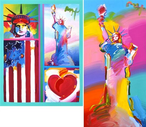 statue of liberty iii and two liberties patriotic series 2 works by peter max